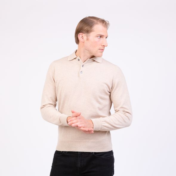 Men's Made In Scotland Oxton Long Sleeved Knitted Polo Shirt | Linen