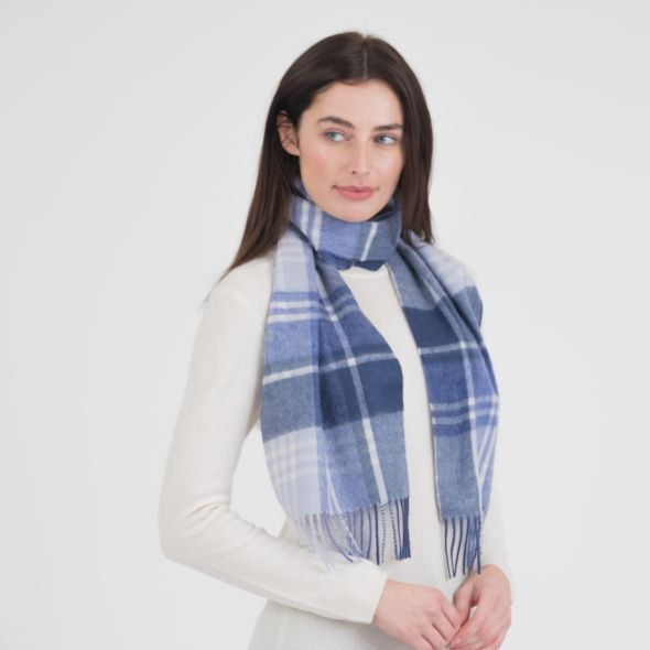 Lambswool Scarf | Blue Jk Check