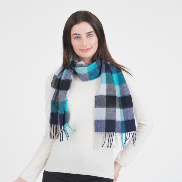 Lambswool Scarf | Blue/Green 5 Square Check