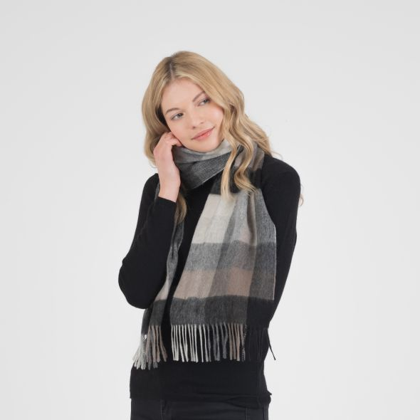 Lambswool Scarf | Black Grey 5 Square Check