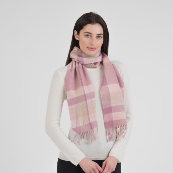 Lambswool Scarf   Light Pink Middle Box Check