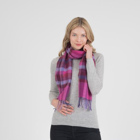 Lambswool Scarf | Dark Pink Stepping Check