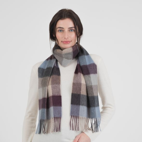 Cashmere Scarf | Teal 5 Square Check