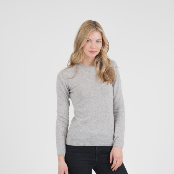 Women's Cashmere Crew Neck Jumper | Light Grey