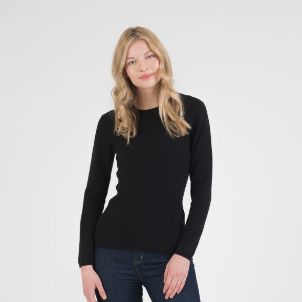 Women's Cashmere Crew Neck Jumper | Black