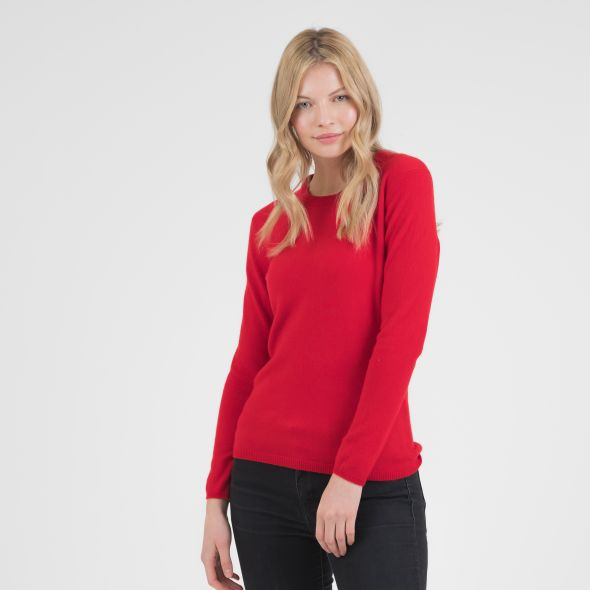 Women's Cashmere Crew Neck Jumper | Red