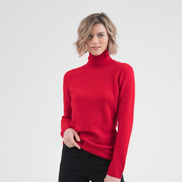 Women's Cashmere Polo Neck Jumper | Red