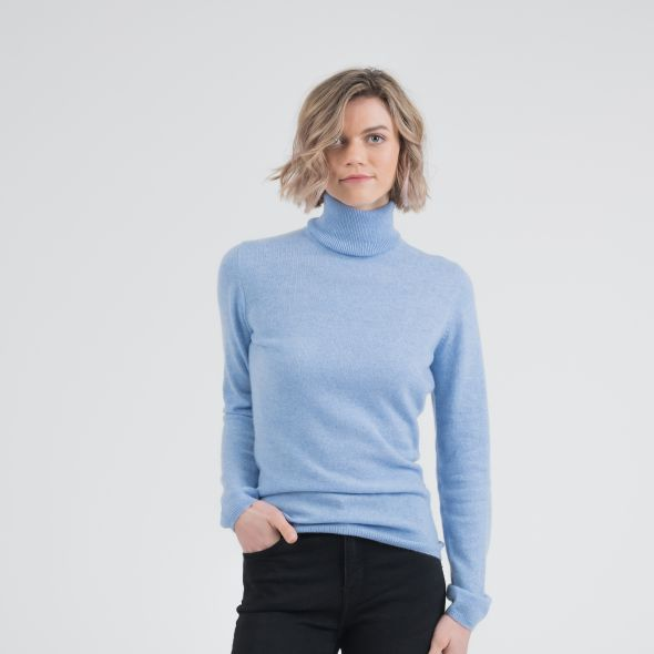 Women's Cashmere Polo Neck Jumper | Glacier