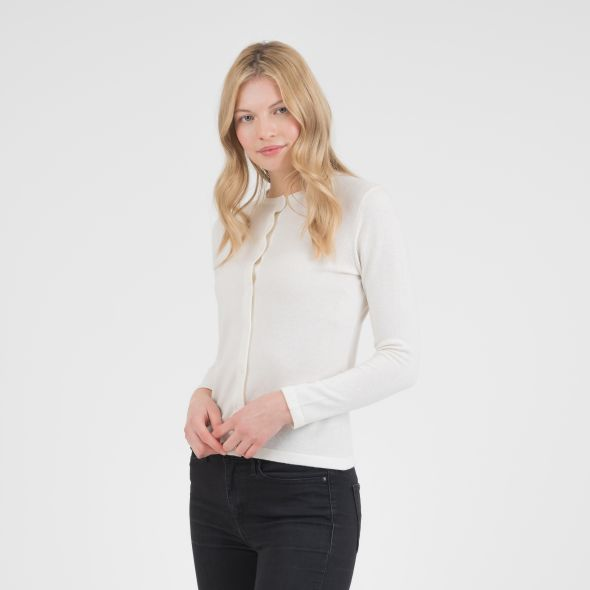 Women's Cashmere High Button Cardigan | Off White