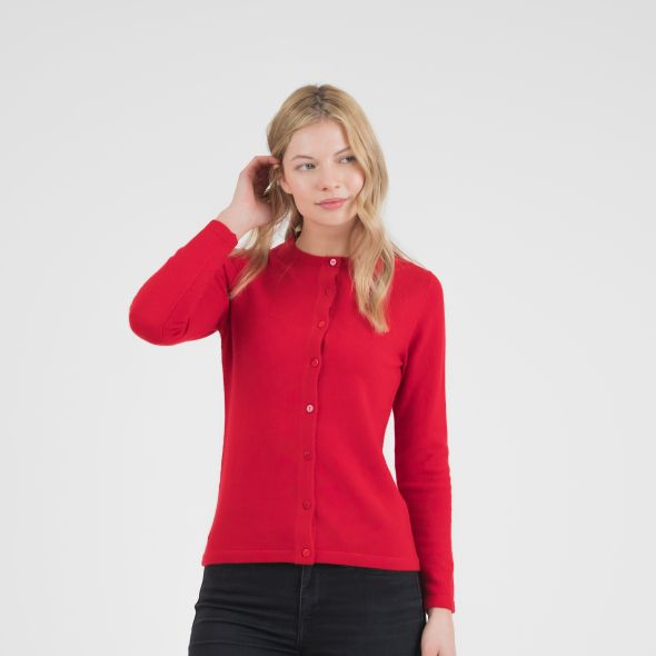Women's Cashmere High Button Cardigan | Red