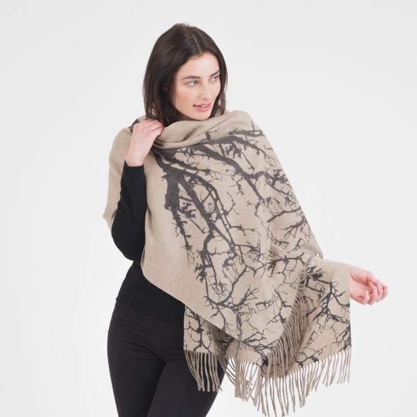 Cashmere Double Sided Printed Stole | Beige Tree