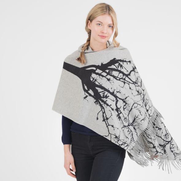 Cashmere Double Sided Printed Stole | Tree Grey/Black