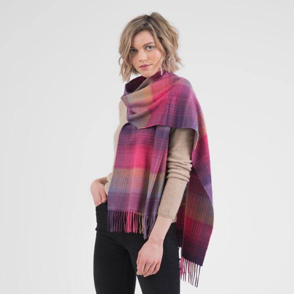 Cashmere Wide Scarf | Pink Repeat Edge