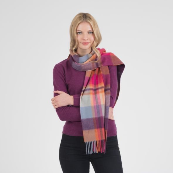 Cashmere Wide Scarf | Orient Ginger New Square Check