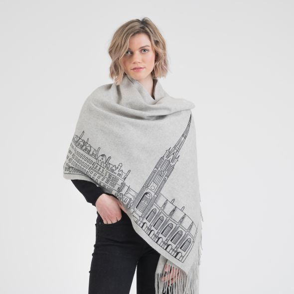 Cashmere Double Sided Printed Stole | Grey Royal Mile Print