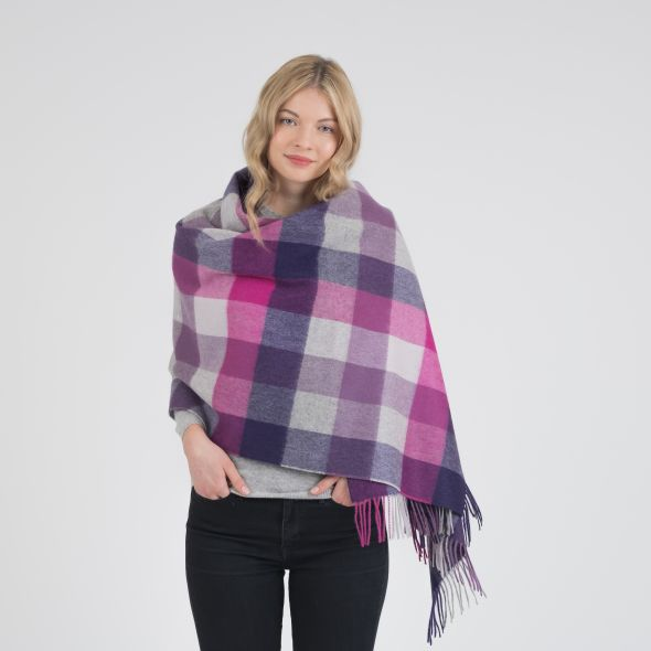 Lambswool Stole | Purple 5 Square Check
