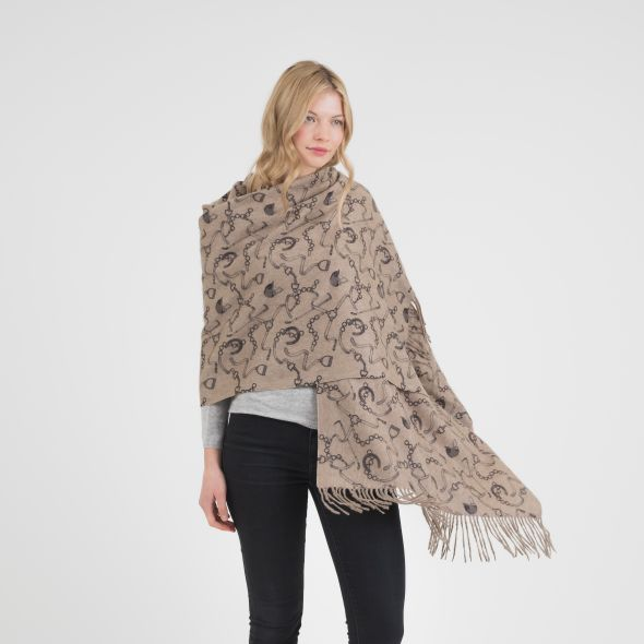 Cashmere Double Sided Printed Stole | Natural Equestrian Print
