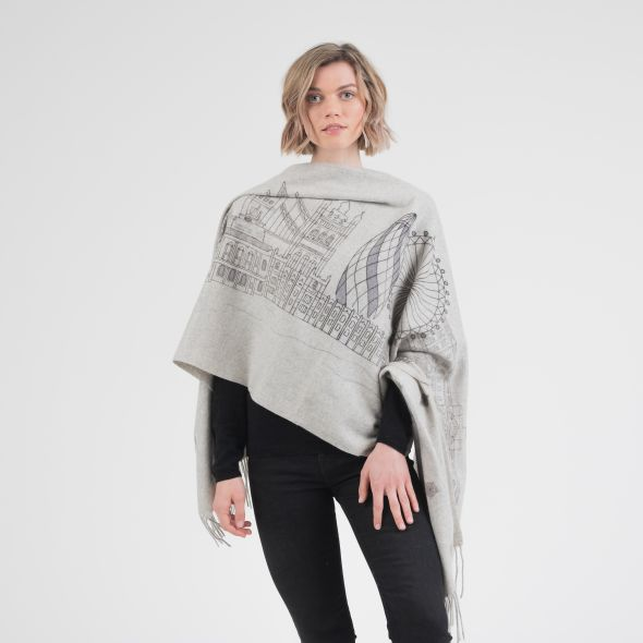 Cashmere Double Sided Printed Stole | The City Of London