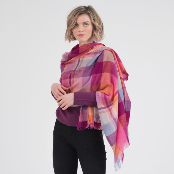 Cashmere Lightweight Stole | Orient Ginger New Square Check