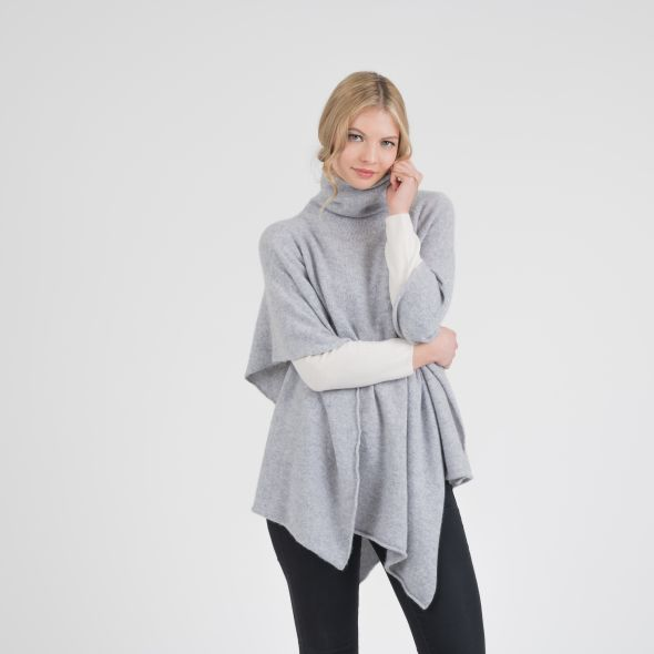 Women's Roll Neck Poncho | Grey