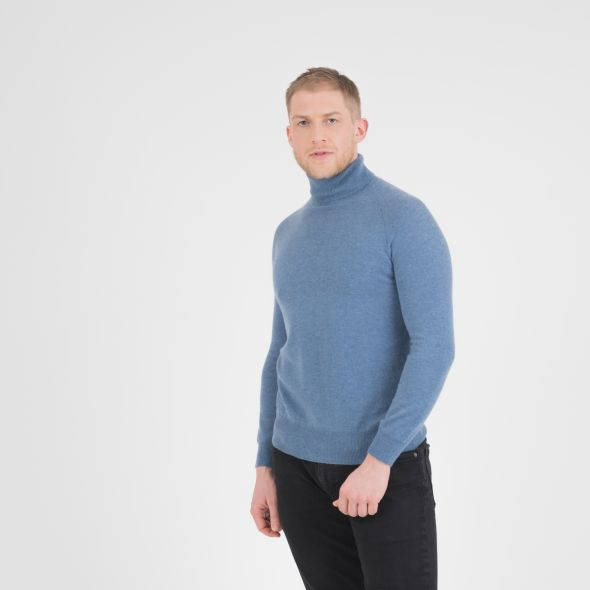 Men's Cashmere Roll Neck Jumper | Haze Blue