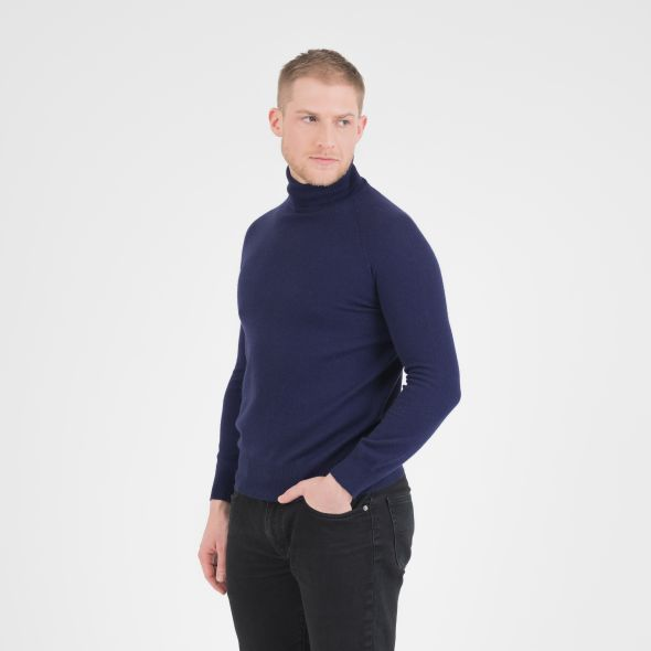 Men's Cashmere Roll Neck Jumper | Navy