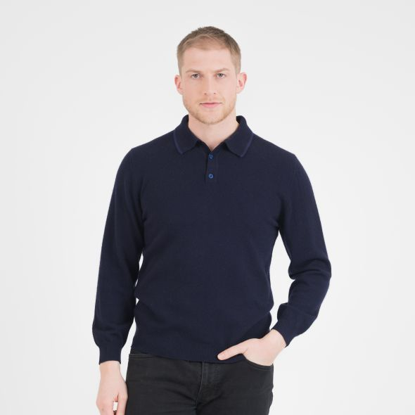 Men's Long Sleeved Knitted Polo Shirt | Dark Navy