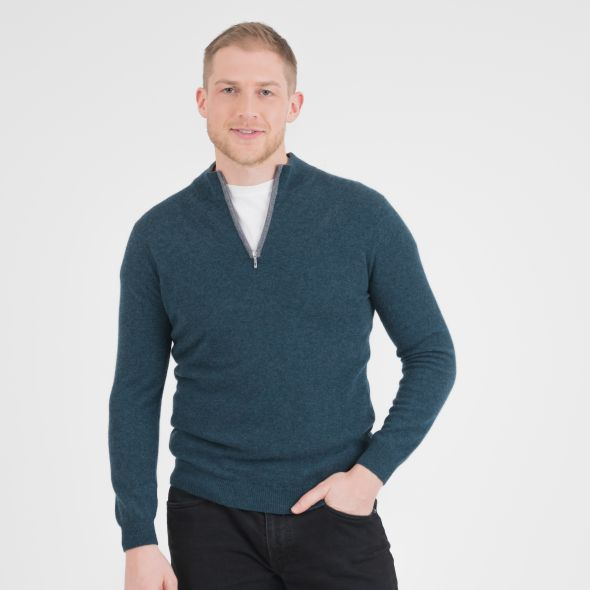 Men's Half Zip Jumper | Green/Grey