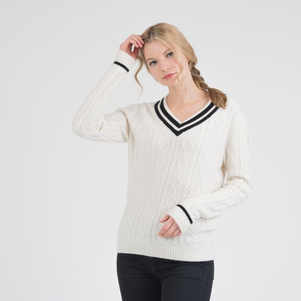Women's Cricket Style Cable V Neck Jumper | Cream/Black