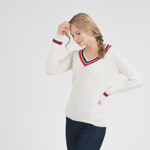Women's Cricket Style Cable V Neck Jumper | Cream/Green/Red